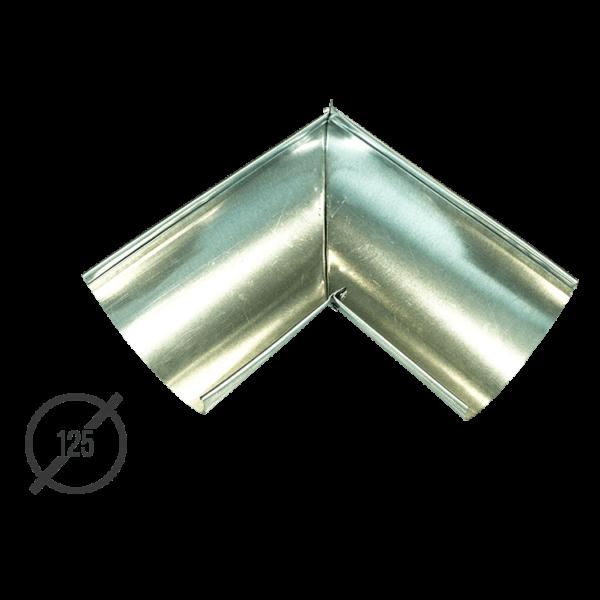 Угол желоба водосточной трубы оцинкованный диаметр 125мм Vsevodostoki.ru
