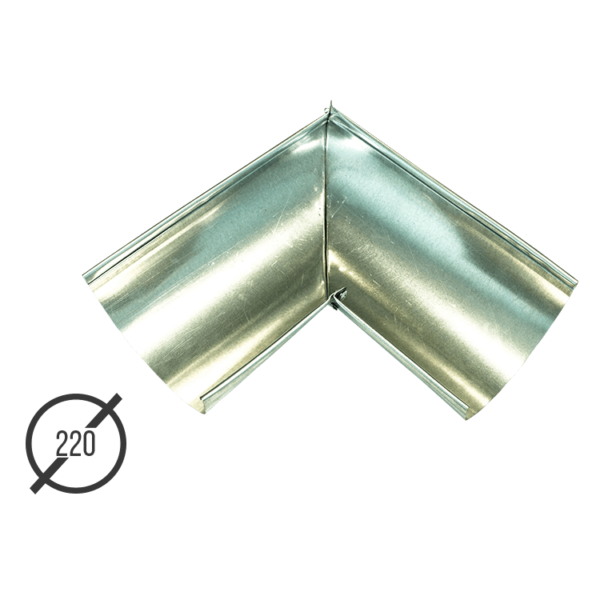 Угол желоба водосточной трубы оцинкованный диаметр 220мм Vsevodostoki.ru