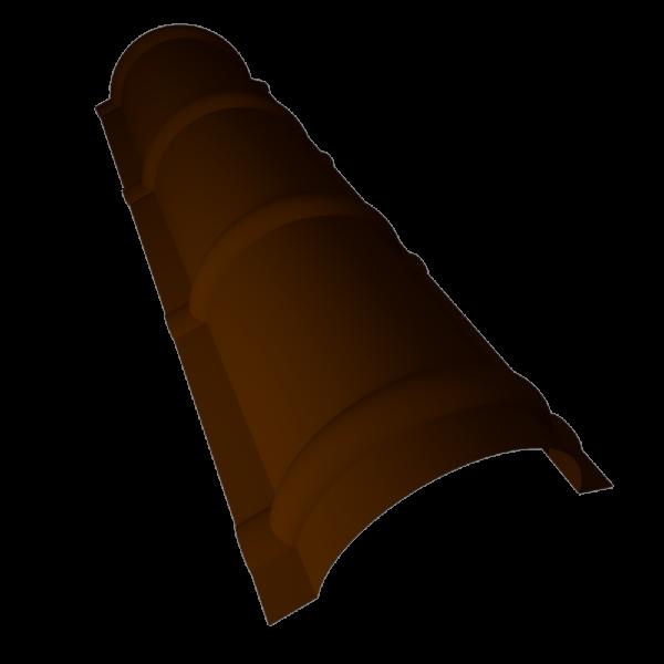Конек полукруглый (круглый) для металлочерепицы оцинкованный с полимерным покрытием RAL 8017