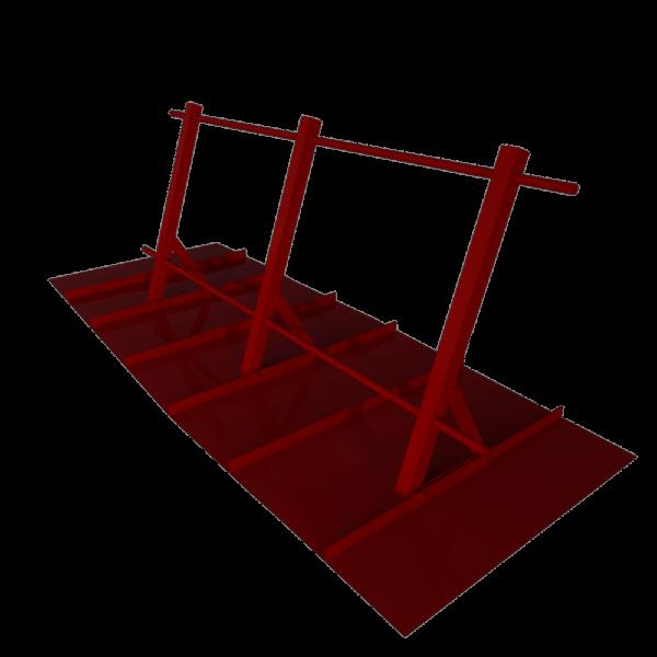Ограждение кровельное стальное для фальцевой кровли оцинкованное с покрытием RAL 3005 высота 900 мм