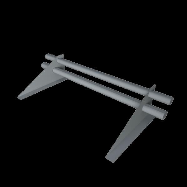 Снегозадержатель трубчатый 1 метр 2 х опорный с овальной трубой 40 х 20 оцинкованный с треугольной опорой