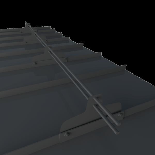 Снегозадержатель трубчатый фальцевый премиум 3 метра 4 т-образных опоры с овальной трубой 45 х 25 с полимерным покрытием RAL 7004